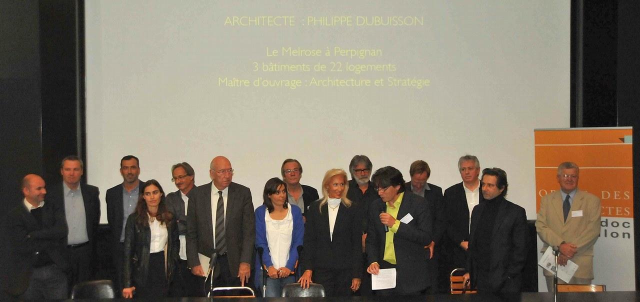 Le lauréat P. Dubuisson et les 6 mentions du Prix d'Architecture