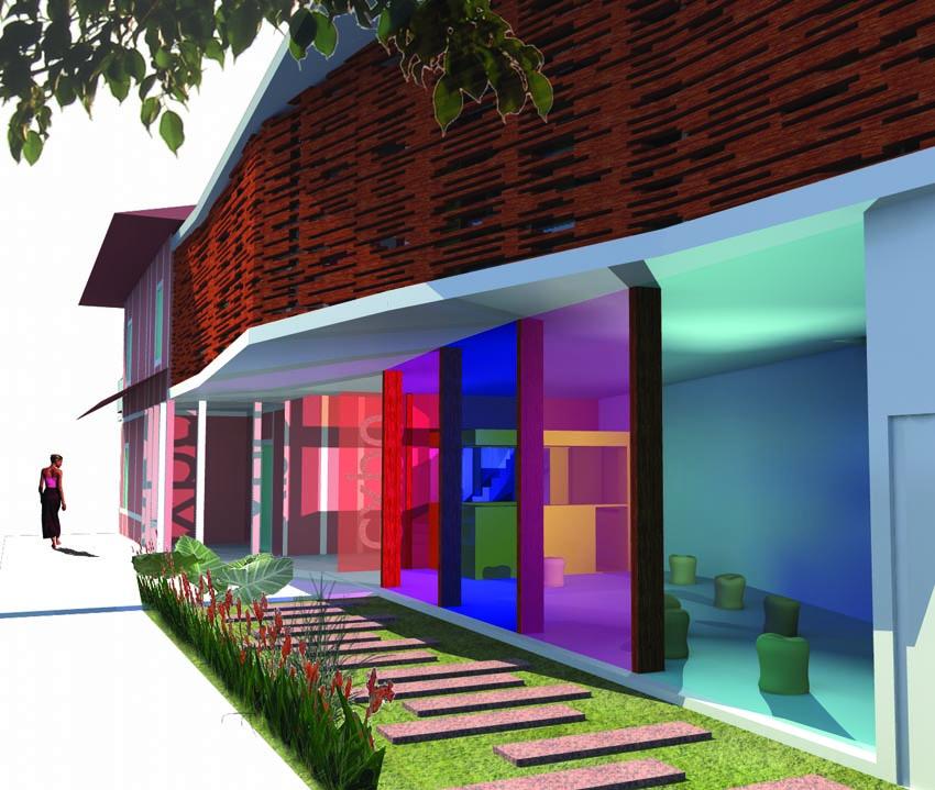 Projet architectural, vue depuis la cour intérieure