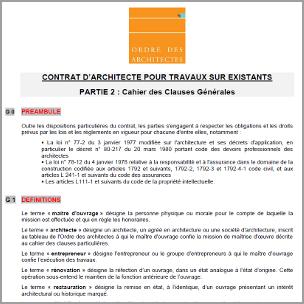 Nouveaux mod les de contrats pour travaux sur existants for Honoraire d un architecte