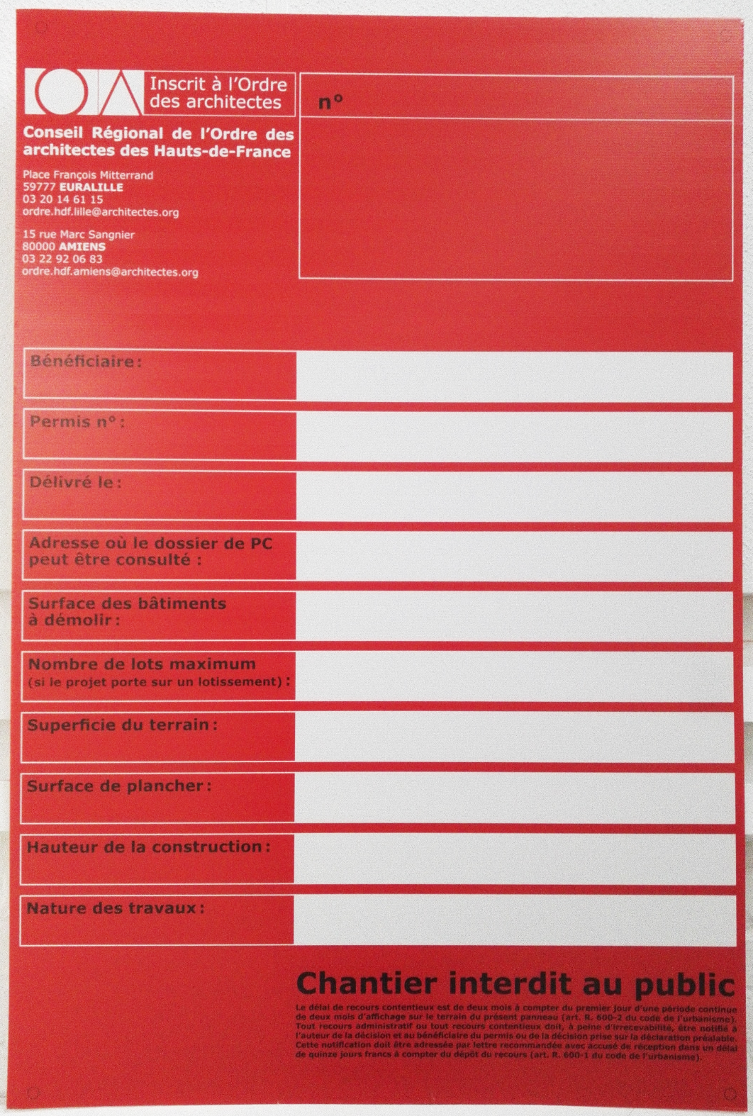 Ordre Des Architectes Amiens les panneaux de pc et de chantier sont disponibles au croa