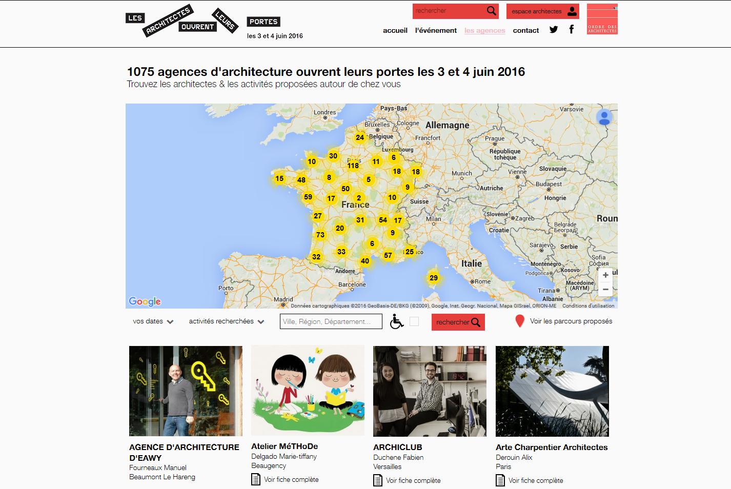 """Site Internet de l'événement """"Les architectes ouvrent leurs portes"""" 2016"""