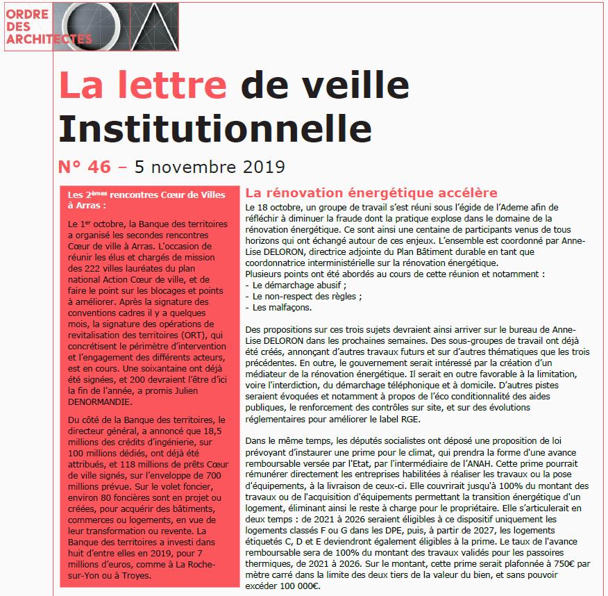 Lettre de veille institutionnelle - 05/11/2019