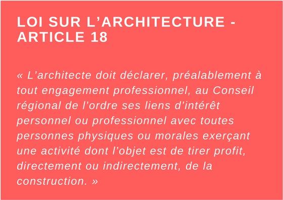Article 18 - Loi sur l'architecture