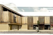 Maison médicale et superette réalisée en Pisé à Marciac-en-Livradois, Boris Bouchet architecte. Ce projet a reçu le prix national de la construction en terre en 2014