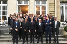 Denis Dessus, président du Conseil national de l'Ordre, aux côtés de Franck Riester  lors de du lancement du groupe de réflexion pour la qualité d'usage et la qualité architecturale des logements sociaux, présidé par Pierre-René Lemas.