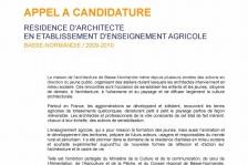 Appel à candidature - Résidence d'Architecte