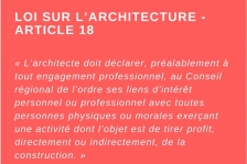 Article 18 - Loi sur l'architecture