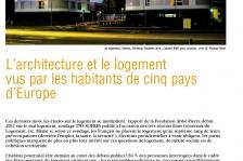 Couverture - L'architecture et le logement vus par les habitants de cinq pays d'Europe