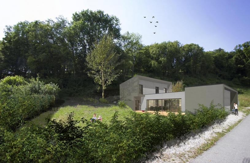 Structure mixte : 2 blocs bétons autour de la pièce de vie en structure bois