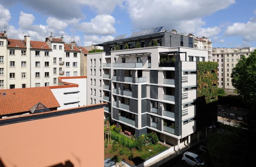 Logements collectifs haut-de-gamme à Lyon 6ème - Archigroup Architectes - façade côté jardin