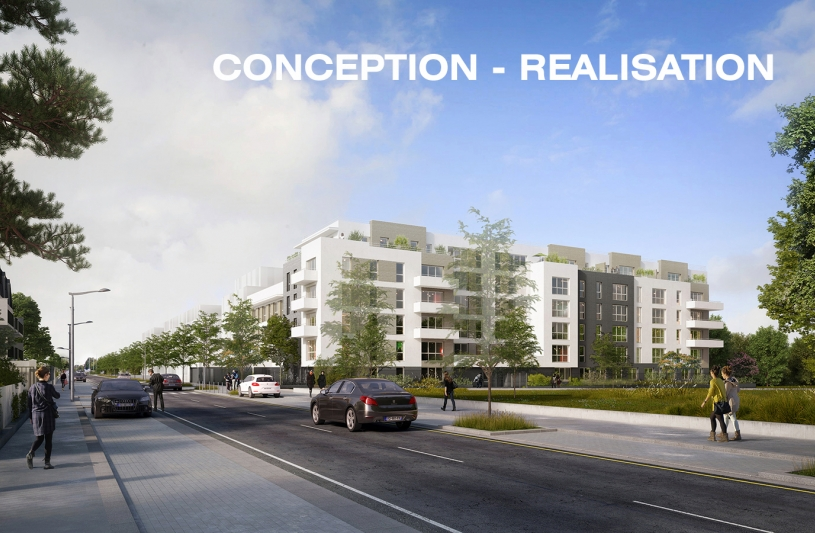 70 LOGEMENTS SOCIAUX NF HABITAT HQE/RT2012-10% - NOISY-LE-GRAND: vue perspective sur rue
