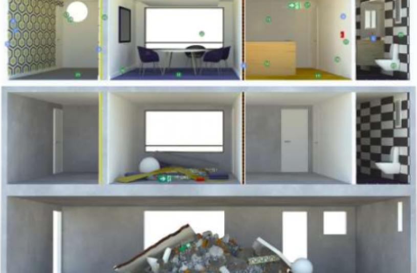 Illustration de la production de déchets dans le bâtiment