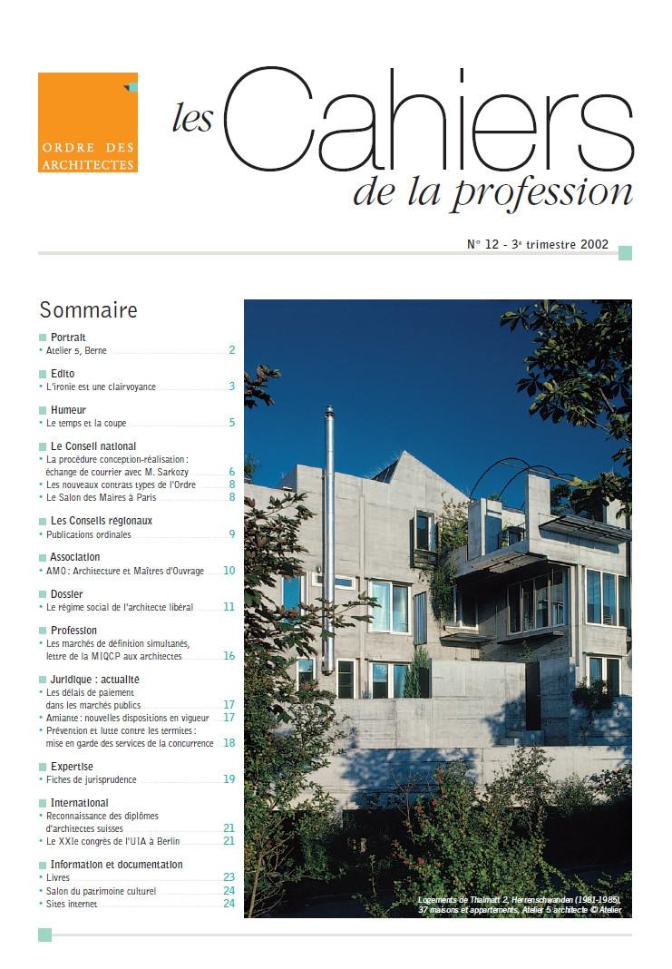 Couverture - Cahiers de la profession n°12