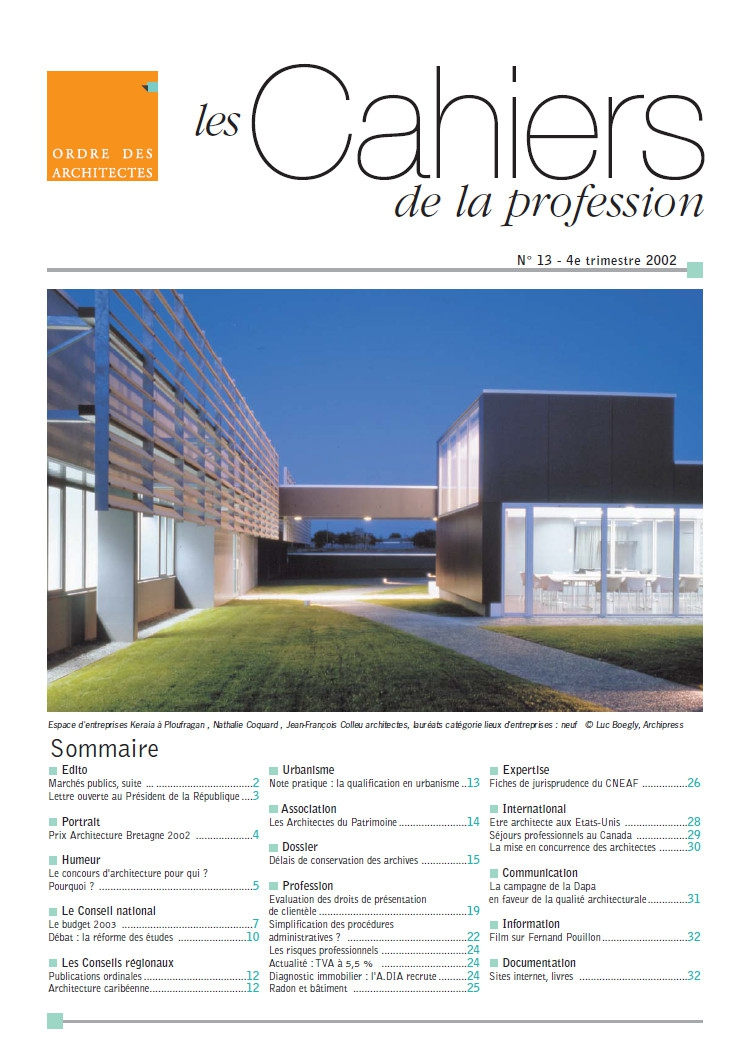 Couverture - Cahiers de la profession n°13