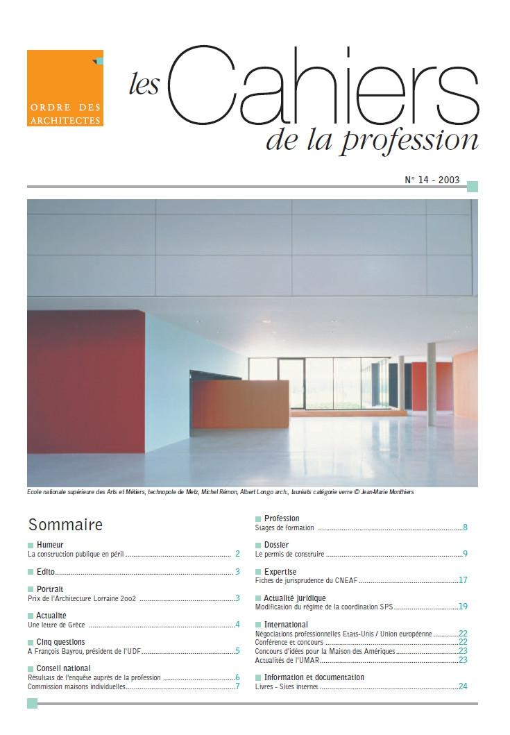 Couverture - Les Cahier de la profession n°14