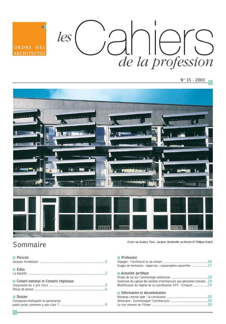 Couverture - Cahiers de la profession n°15