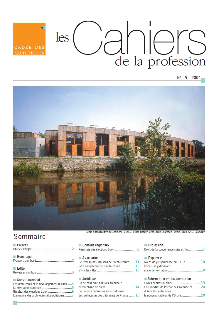 Cahiers de la profession n 19 ordre des architectes for Ordre des architectes centre