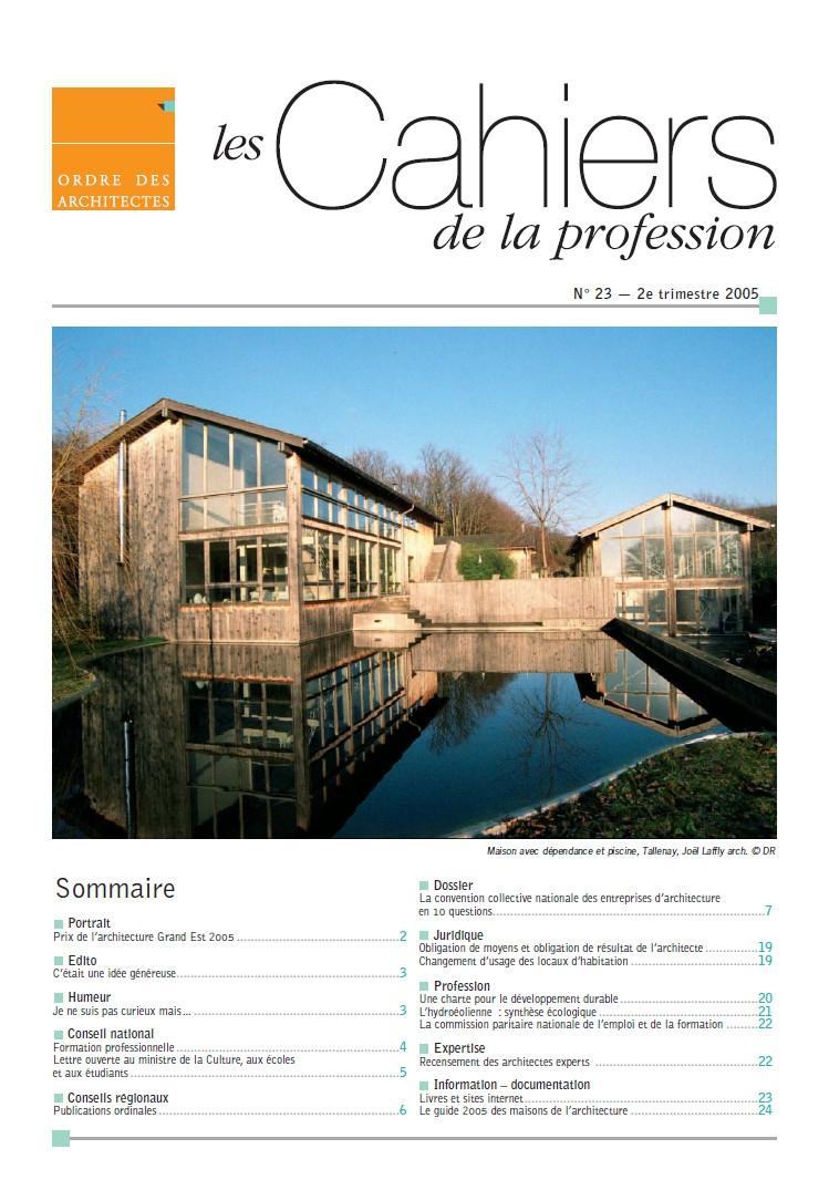 Cahiers de la profession n 23 ordre des architectes for Ordre des architectes centre