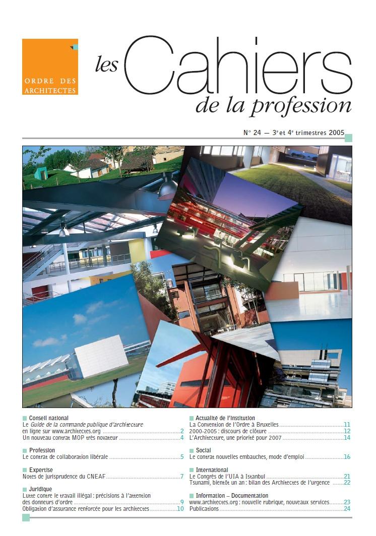 Couverture - Cahiers de la profession n°24