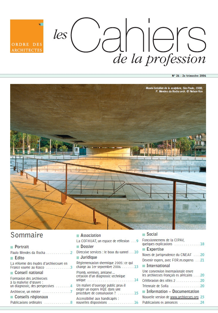 Couverture - Cahiers de la profession n°26