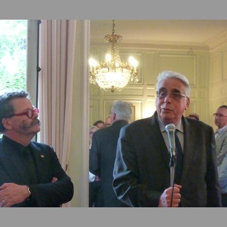 Lionel Carli et Jean-Pierre Sueur lors de la première  réunion des élus pour l'architecture, mardi 18 juin 2013 au Sénat