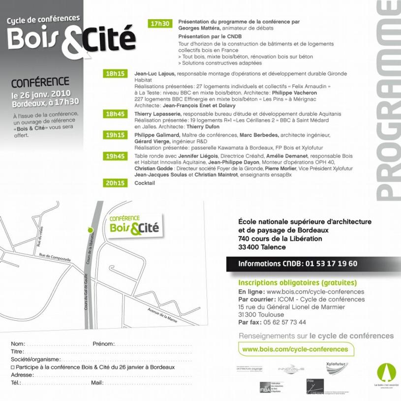 Conférence Bois&Cité Bordeaux - 26/01/2010
