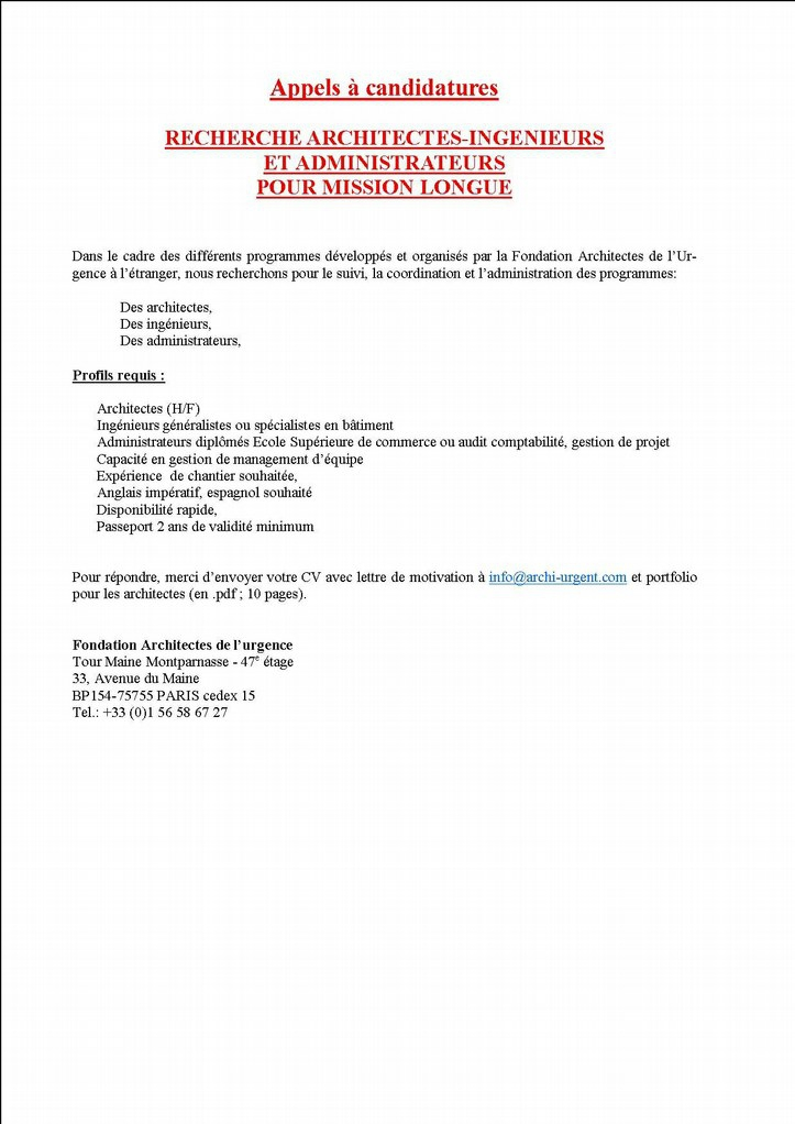 Appel à candidatures Architectes de l'Urgence
