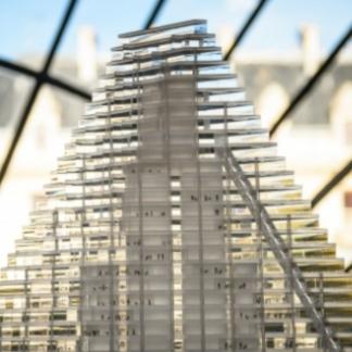 Maquette de la Tour triangle, Herzog & de Meuron arch. (photo Radio France)