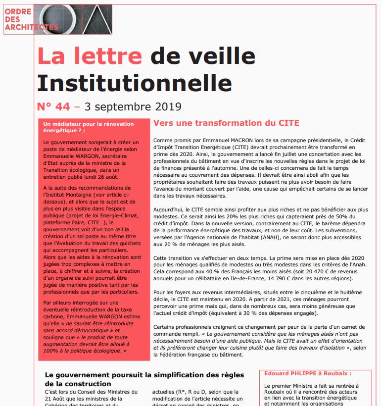 La Lettre de veille Institutionnelle du CNOA - Septembre 2019 png