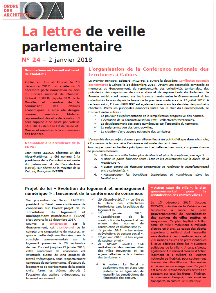 Lettre de veille parlementaire janvier 2018