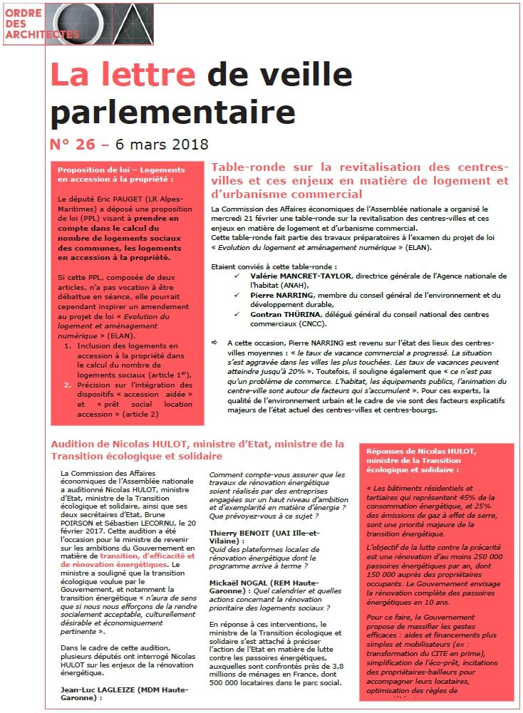 La lettre de veille parlementaire du Conseil national – 6 mars 2018