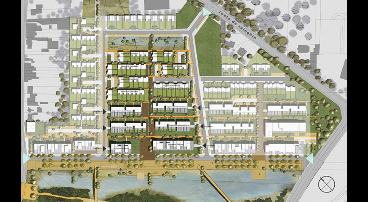 82 logements collectifs à villeneuve d'ascq, projet de la haute