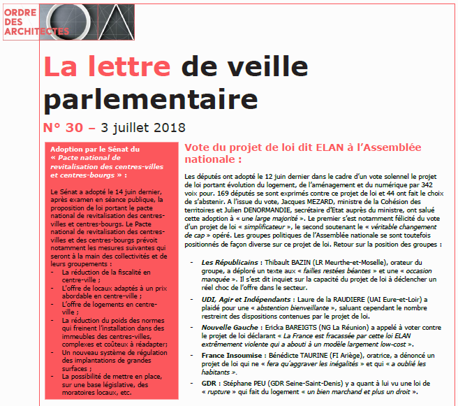 Lettre de veille parlementaire juillet 2018